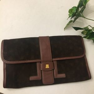 Rare Vtg LANVIN Suede and Leather Clutch Purse